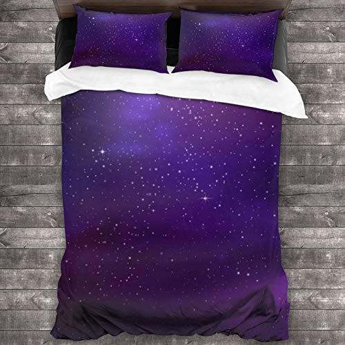 AIMILUX Funda Edredón,Ilustración de la Nebulosa de la Galaxia Cúmulos de Estrellas del Espacio Profundo y la constelación de la Vía Láctea,Ropa de Cama Funda Nórdica,1(220x240cm)+2(50x80cm)