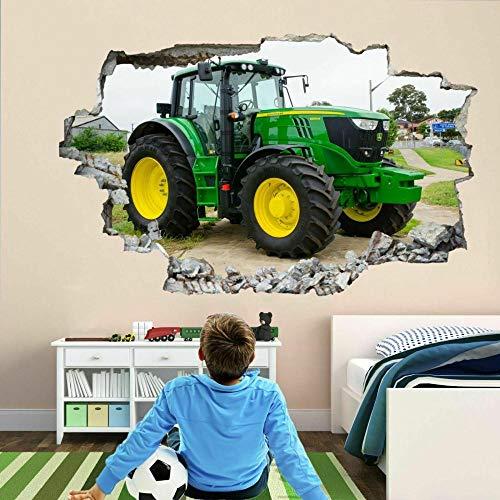 Pegatinas de pared Pegatinas de arte de pared de Tractor moderno, calcomanía mural para niños, dormitorio, granja, cartel, papel tapiz- 50×70cm