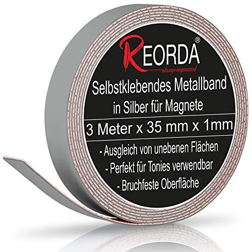 Reorda® Metallband in Silber (3m) - Ideal für Tonie Tribüne, Magnete & Tonie Figuren dank hohem Metallanteil - Metallband Selbstklebend ist dank biegsamen Material an vielen Oberflächen verwendbar