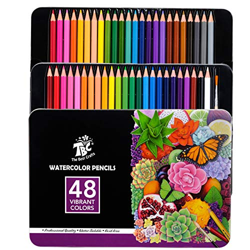 TBC The Best Crafts Watercolor Pencils Set Professional 48 Mulit Color Pencils with Metal Box Art Supplies for Kids and Adults for Drawing Sketching Painting