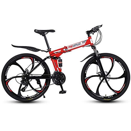 Bicicleta De Montaña Plegable De 26 Pulgadas Bicicletas Bicicleta Montaña Bicicleas para Niños, Niñas, Mujeres Y Hombres, Freno De Disco Delantero Y Trasero, De 21 Velocidades-Rojo
