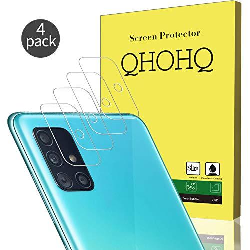 QHOHQ Protettore Lente Fotocamera per Samsung Galaxy A51/Galaxy A51 5G, [4 Pezzi] [Anti-Spargimento] Vetro Temperato Senza Bolle Alta Definizione Anti-graffio Pellicola Protettiva