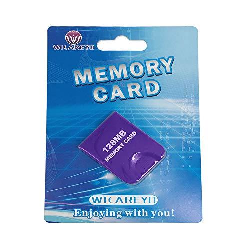 WICAREYO 128M Speicherkarte Memory Card Mit Hoher Kapazität mit Paket Für Wii NGC Gamecube Konsole,Lila