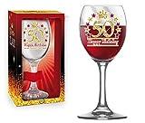 BICCHIERE 50 ANNI Calice glitter ORO Gadget idea regalo festa 50° Compleanno