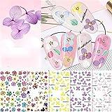 WZHrb Flor Calcomanías de uñas Etiqueta de transferencia de agua Hoja de rosa Nails de verano Decoración de arte Accesorios de manicura 10 Shoils
