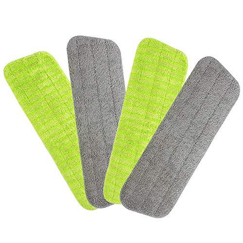 4 cabezales de repuesto lavables de microfibra para mopa húmeda y seca, almohadillas para orejas de microfibra para limpiar suelos de parquet y otros pisos
