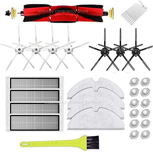Kit de accesorios para Xiaomi Roborock S50 S51 E25 S5 E20 C10 Roborock Roborock Robots, filtro lateral cepillo (color: dorado) filtro cepillo (color: 30 piezas)