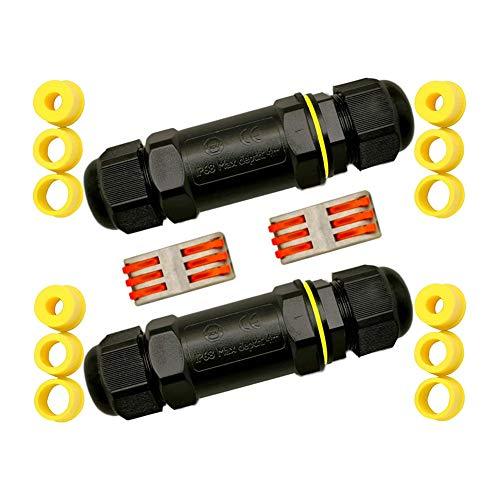 Wuudi Wasserdicht Kabelverbinder, 2 Stück Verbindungsbox IP68 3 polig Verbindungsmuffe mit 2 Verbindungsklemme und 12 Gummiringe für Ø4-14 mm Kabeldurchmesser(Schwarz)