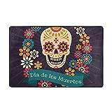 Tapis de Bain Tapis,coloré Dia De Los Muertos avec Sucre Festive Couronne de crâne de Fleurs Ruban Salle de Bain Tapis 75cmx45cm