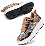 DADAWEN Women's Walking Shoes Sequin Lightweight Non Slip Tennis Sneakers Lady Girls Comfort Wedge Platform Athletic Running Shoes Gold US Size 12