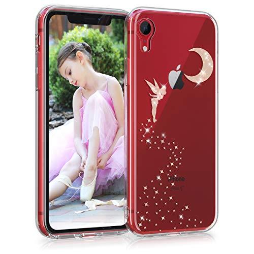 kwmobile Cover Compatibile con Apple iPhone XR - Back Case Custodia Posteriore in Silicone TPU Cover per Smartphone - Back Cover Fata alata Oro Rosa/Trasparente
