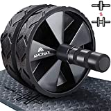 Amonax Ab Wheel Roller with Large Knee Mat for Core Abs Rollout Exercise. Double Wheel Set with Dual Fitness Strength Training Modes at Gym or Home