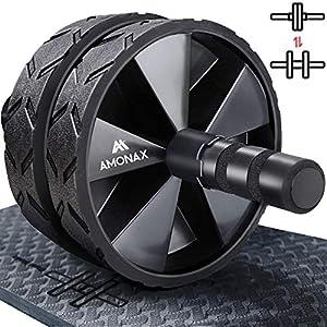 immagine di Amonax - Rullo per addominali convertibile con grande tappetino per ginocchia per esercizi core addominali. Set di ruote doppie con doppia modalità di allenamento fitness forza in palestra o a casa