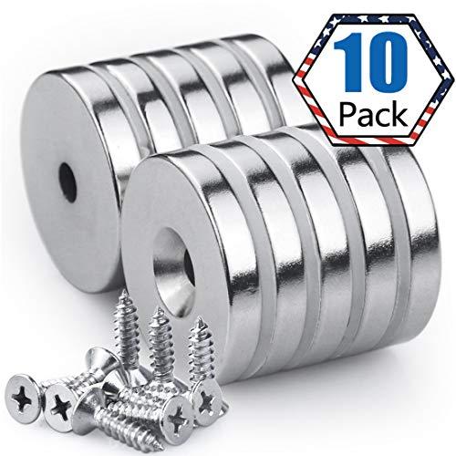 Magnete Zum Schrauben, 25 x 5 mm, 10 Stück Neodym Disc Senkkopf Stark Loch Magnete, 11 kg(25LB) Zugkraft mit 10 Schrauben für DIY Craft