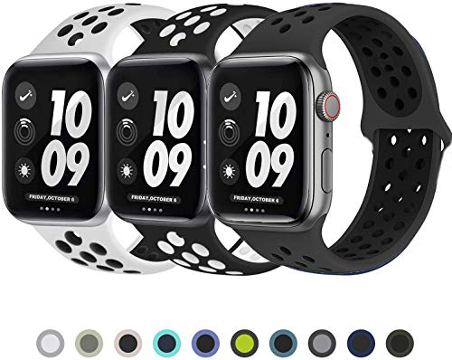 VIKATech Für Apple Watch Armband 42mm 44mm, Weiche Silikon Ersatz Armbänder für Apple Watch Armband 42mm 44mm Series 5/4/3/2/1, Sport, Edition, S/M, 3 Pack C