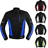 Mesh Motorcycle Jacket Textile Motorbike Summer Biker Air Jacket CE ARMOURED BREATHABLE (XXX-Large, Blue)