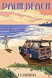 Palm Beach, Florida - Woody On The Beach (9x12 Art Print, Wall Decor Travel Poster)
