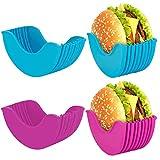 Soporte portátil para hamburguesas reutilizable, higiénica caja fija para hamburguesas, de silicona lavable, elástico, para hamburguesas, para casa, fiesta, al aire libre (2 unidades) (A)