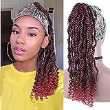 LEOSA Braided Headband Wig Bun Box Braid Headwrap Wigs with Headband Braided Wigs for Black Women Red Braided Wigs Turban Wrap-Wig Updo Drawstring Wig Head-Wrap Wigs (BUG#)
