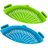 Snap Strainer, DaKuan 2 Packs of Hands-free Clip-on Heat Resistant Colander Pour...