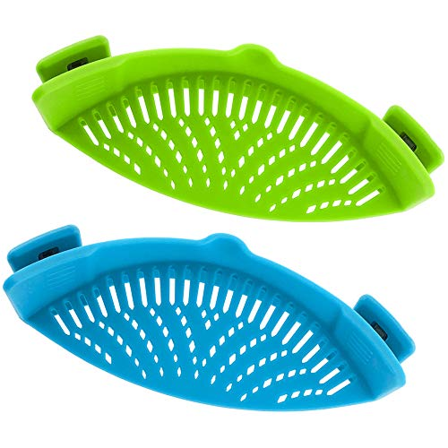 Snap Strainer, DaKuan 2 Packs of Hands-free Clip-on Heat Resistant Colander Pour Spout for Pasta...