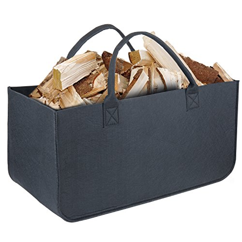 Diealles Feuerholztasche, Vielseitig Verwendbare Filztasche mit Griff für Die Aufbewahrung von Feuerholz, Zeitschriften oder Spielzeug (Schwarz)
