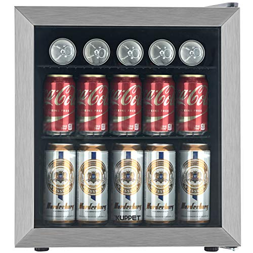 KUPPET Mini Fridge Cooler - 62 Can Beverage Refrigerator Glass Door for Beer Soda or Wine, Glass Door Small Drink Dispenser Machine Clear Front Removable for Home, Office or Bar, 1.6Cu.Ft