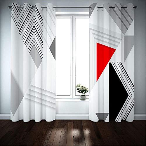 Cortinas Opacas Salon Cortina Aislantes Termicas Dormitorio Cortinas Reducir El Ruido Oficina,Cortinas de fiesta Paisaje 3D,Negro blanco gris rojo blanco Cortina Decorativa,170(W)X255(H)CM*2panel