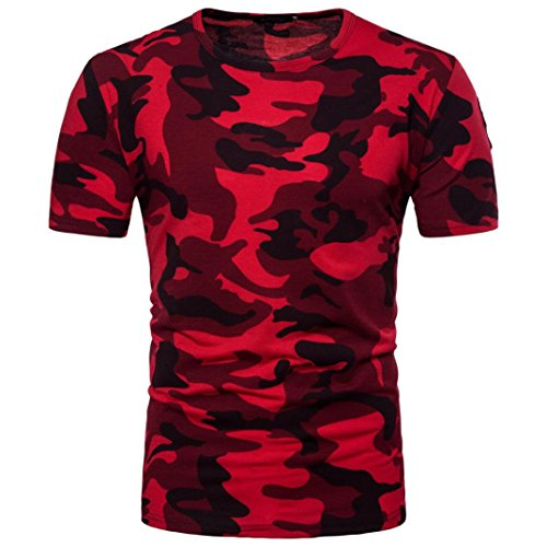 Camouflage T Shirt Herren URSING Männer Sportstyle Kurzarmshirt Kurzarm Coole Shirts Sommer Oberteil Fashion Mode Basic Tee Slim Fit Bluse für Training Fitness Gym Running Yoga (XL, Rot)