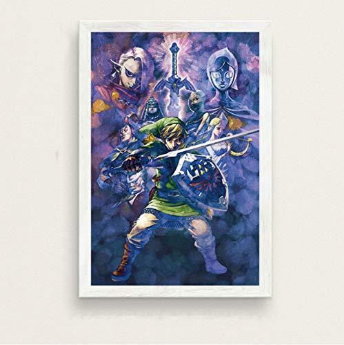 zpbzambm Frameless Wall Painting 40X50Cm - The Legend Of Zelda Hot Video Game Art Painting Silk Canvas Wall Poster Home Decor Zp-1354
