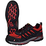 Nitras 7410 ESD Arbeitsschuhe S1P SRC Sportlicher Sicherheitsschuhe mit Zehenkappe Metallfrei & Durchtrittssicher Antistatisch und Ableitfähige Schuhe Größe: 41, Schwarz/Rot