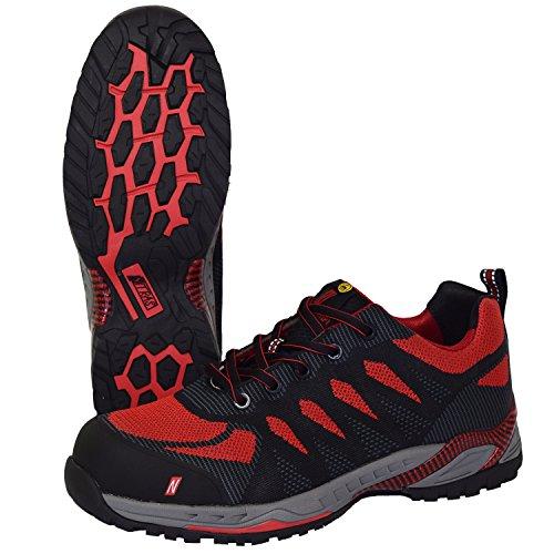 Nitras 7410 ESD Arbeitsschuhe S1P SRC Sportlicher Sicherheitsschuhe mit Zehenkappe Metallfrei & Durchtrittssicher Antistatisch und Ableitfähige Schuhe Größe: 43, Schwarz/Rot