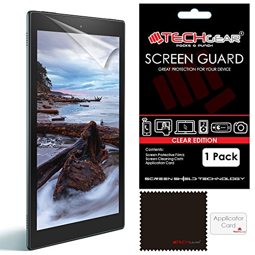 TECHGEAR Screen Protector for Amazon Fire HD 10 (5th Generation/2015 Release) - Clear Lcd Screen Protectors for Fire HD10 2015 - With Cleaning Cloth + Application Card (Fire HD10)