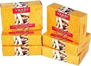 Sandalwood Soap (Sandalwood Oil Bar Soap) with Saffron and Turmeric Extracts - Handmade Herbal Soap (Aromatherapy) with 100% Pure Essential Oils - ALL Natural - Skin Whitening Therapy - Each 2.65 Ounces - Pack of 6 (16 Ounces) - Vaadi Herbals