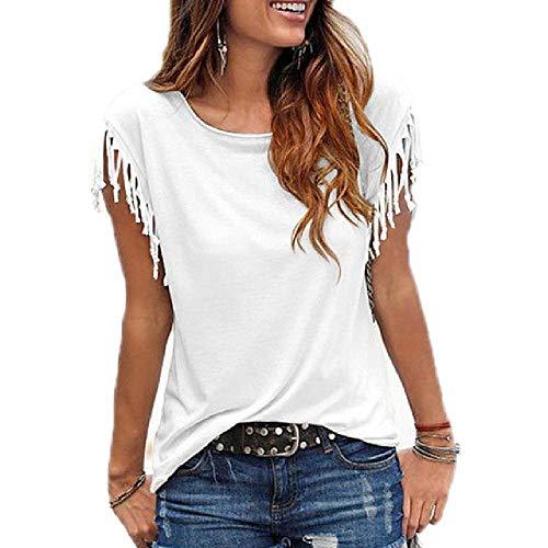 N\P Verano de manga corta con flecos camiseta de mujer cuello redondo básico