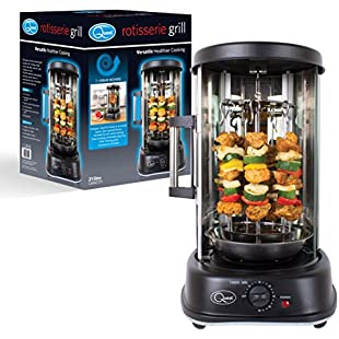 Quest 34020 Electric Single Central/7 Kebab Skewer Vertical Rotisserie Grill with Timer, 21 Litre, 1500 W, Black