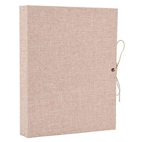 ELFGUS Fotoalbum zum Selbstgestalten, Kraft-Seiten Fotoalben Scrapbook Groß zum Einkleben, Leinen Fotobuch Gästebuch Stammbuch mit Geschenkbox, Khaki