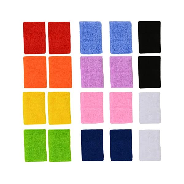 ColorYourLife 10 Pairs (20 Pieces) Colorful Sports Wristbands Wrist Sweatbands Wrist...