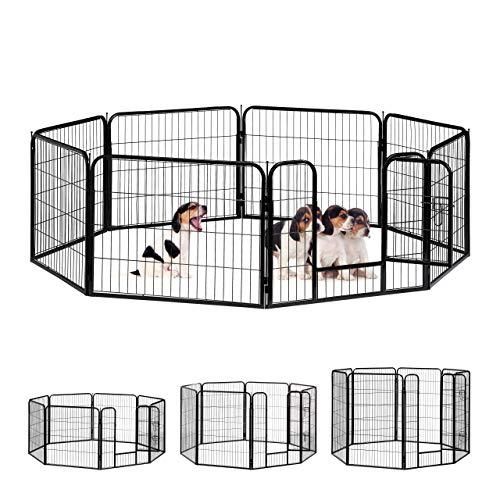 Relaxdays Welpenauslauf, kleine Hunde, Welpen, Kleintiere, Innen, Außen, Laufstall HxBxT: 60,5 x 76,5 x 235 cm, schwarz
