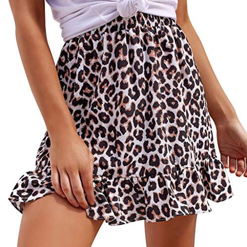 Yuwegr Damen Röcke Kurze Hohe Taille A-Linie Mode Leopardenmuster Rüschen Mini Rock Casual Skirt S-XL (S, Braun)