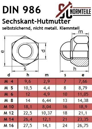 | Sechskant-Hutmutter 4 St/ück Muttern OPIOL QUALITY Stopmuttern Hutmuttern M10 selbstsichernd DIN 986 Edelstahl A2 Sicherungsmutter