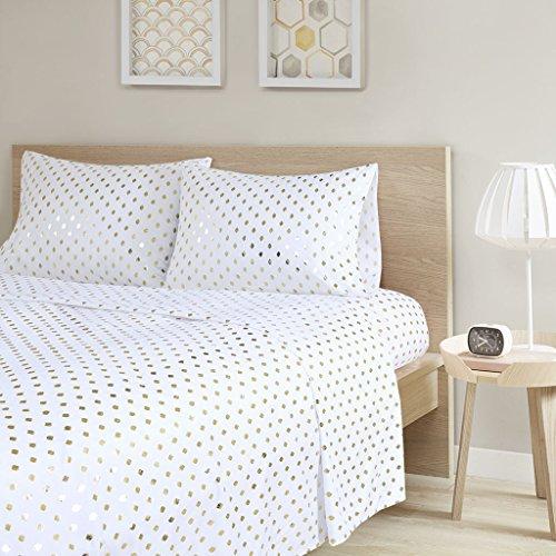 Intelligent Design Ultra Soft Wrinkle Free All Seasons Year Round, Queen, Metallic Dot White/Gold 4 piece