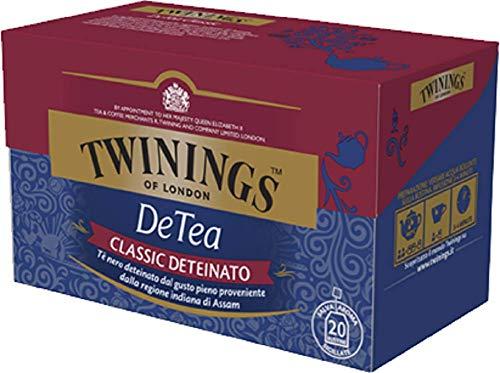 Twinings Tè Deteinati - DeTea Classic - Tè Nero dal Sapore Corposo Privo di Teina - Provenienti dalla Regione Indiana di Assam - Da Gustare al Naturale, con Latte o una Punta di Limone (40 Bustine)