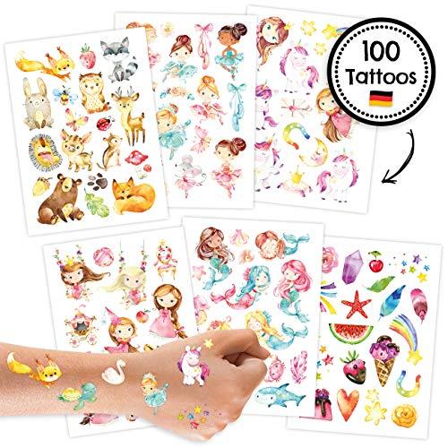 Papierdrachen 100 Tattoos für Kinder - Hautfreundliche Kindertattoos mit Waldtieren, Einhörnern, Prinzessinnen und weiteren Designs - als Geburtstagsmitgebsel - für Jungen und Mädchen