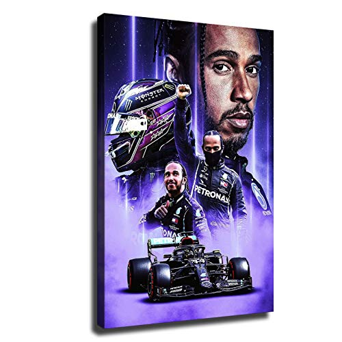 Lewis Hamilton poster F1 2020 champion Professional racer championship Wall art Canvas picture HD printing (8x12inch,framed)