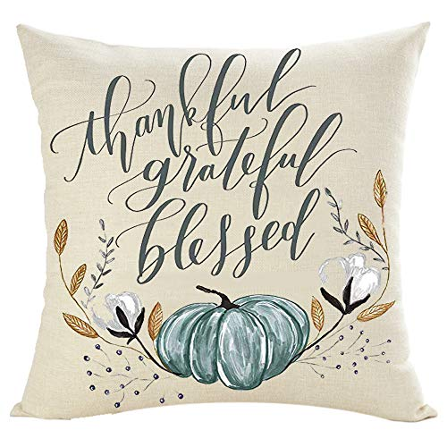 Jimrou Throw Pillow Cover 18x18inches Festival Gifts Thankful Grateful Blessed Hand Painted Blue Watercolor Pumpkin Cotton Linen Decorative Home Sofa Chair Car Square Throw Pillow Case Cushion Cover