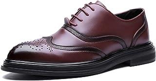 Men's Business Oxford Casual Fashion Retro Brush Colour Classical Outsole Brogue Shoes casual shoes (Color : Red, Size : 41 EU)