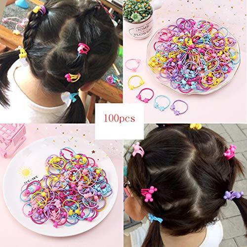 Gomas elásticas para el pelo para niñas, accesorios para coleta y coleta (100 unidades)