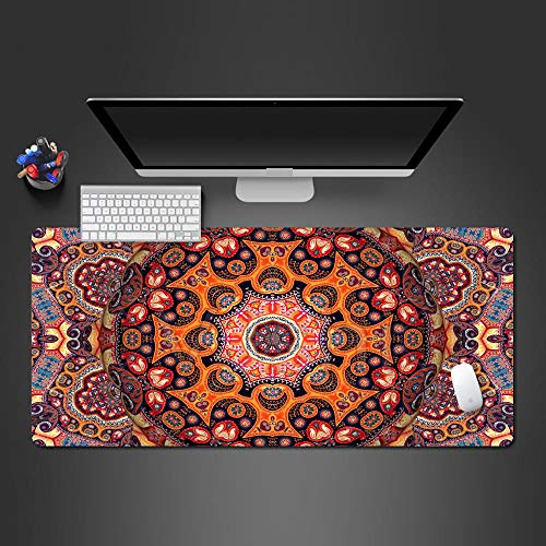 JIACHOZI Big Mouse pad Gaming Red Creative Bohemian Style 700×300×3mm Large Gaming Mouse Pad with Stitched Edges, Extended Mousepad with Superior Micro-Weave Cloth, Non-Slip Base, Keyboard Pad,