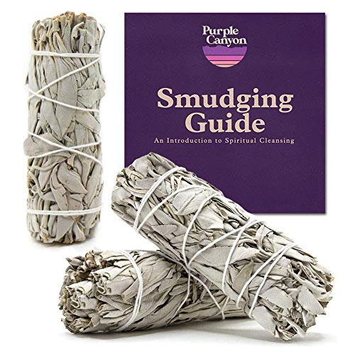 PURPLE CANYON White Sage Bundles – (3 Pack) – Sage Smudge Stick for Home Cleansing Incense Healing Meditation and California Smudge Sticks Rituals (4 Inch)
